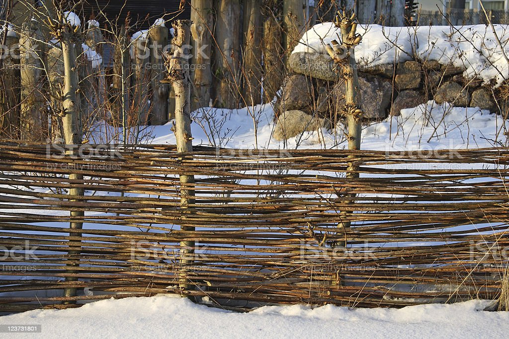 Fence of wooden rods stock photo