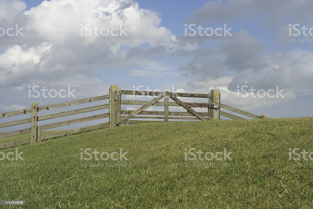 Fence on the dyke royalty-free stock photo
