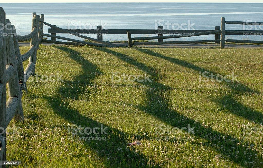 Fence shadows at sunrise stock photo