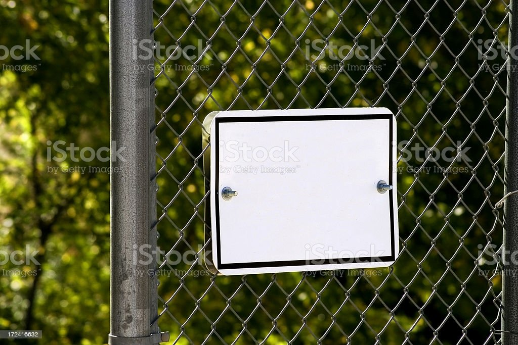 Fence Sign stock photo