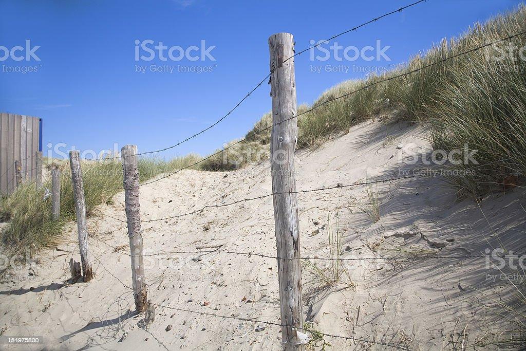 Fence through the dunes royalty-free stock photo
