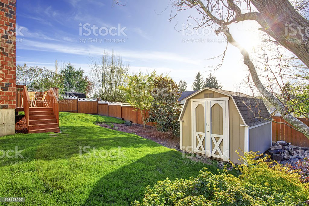Fenced backyard with small shed stock photo