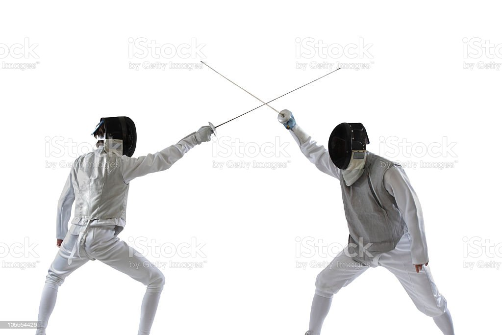 Fencer Fight stock photo