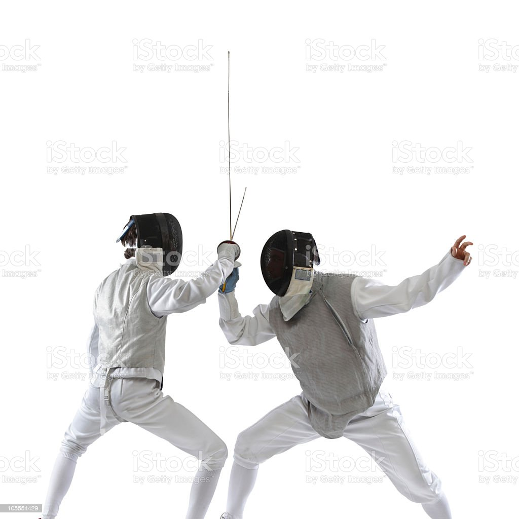 Fencer in action stock photo