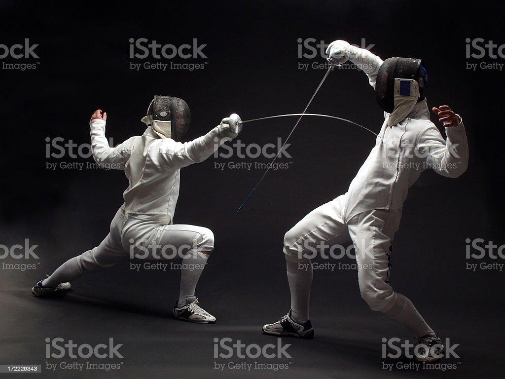 Fencer on black stock photo