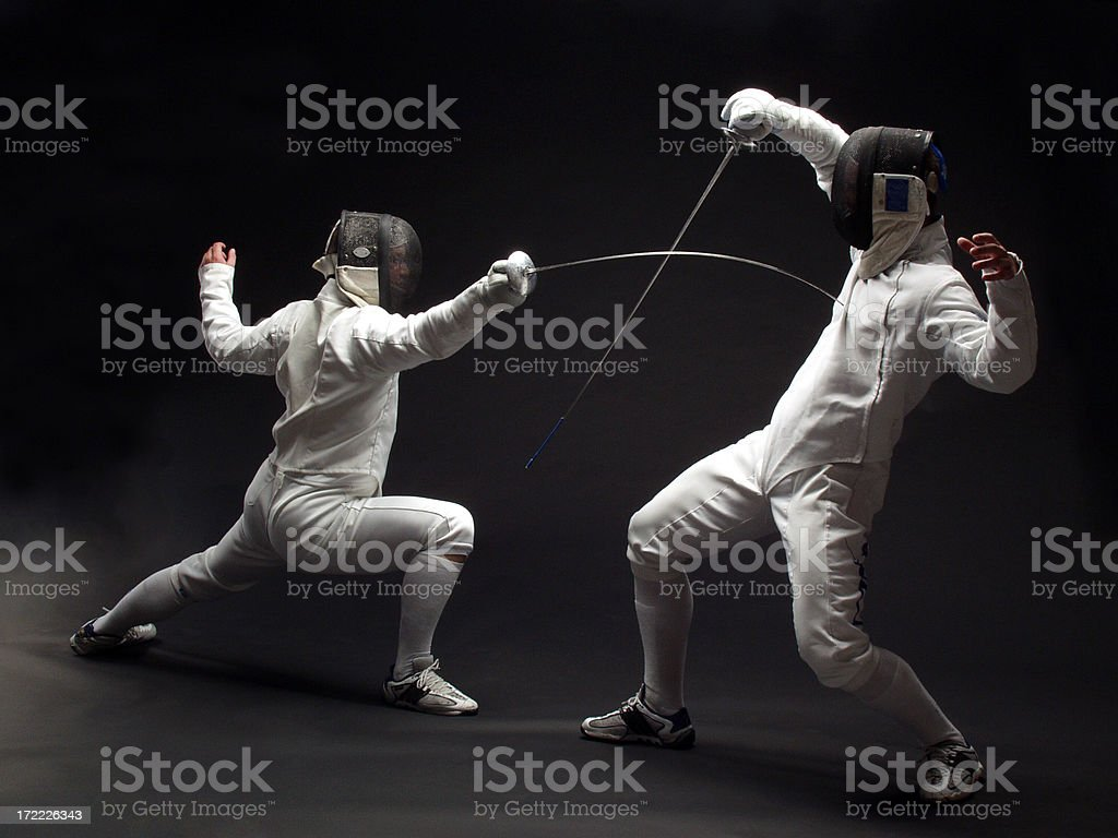 Fencer on black stock photo