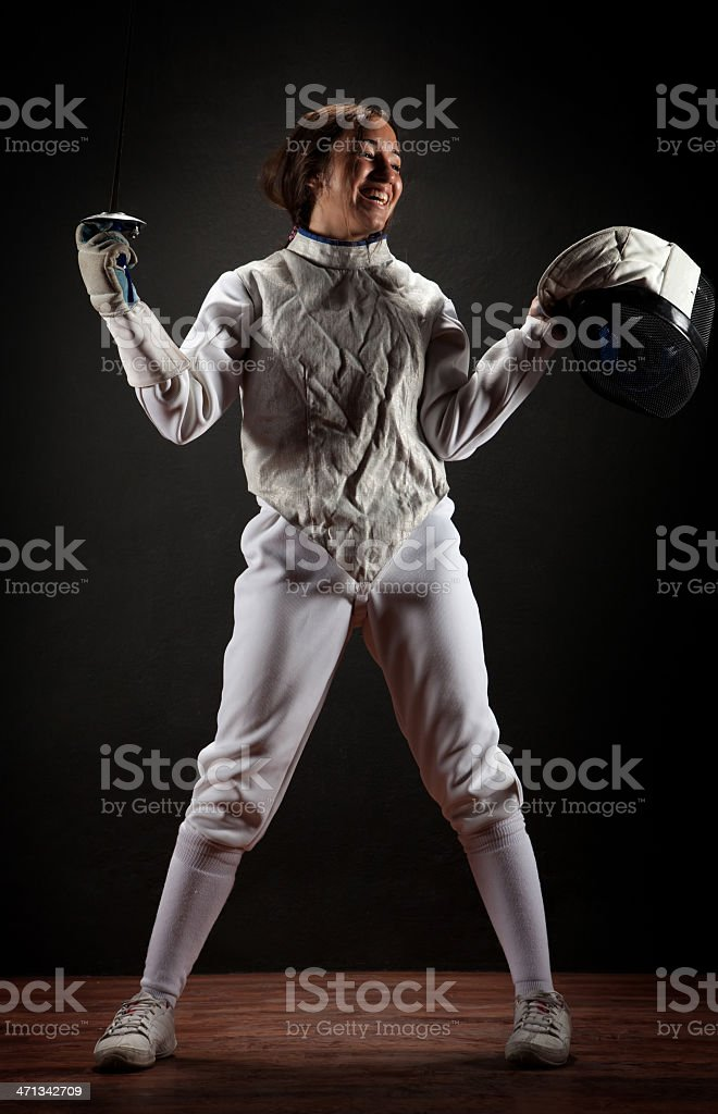 Fencer woman stock photo