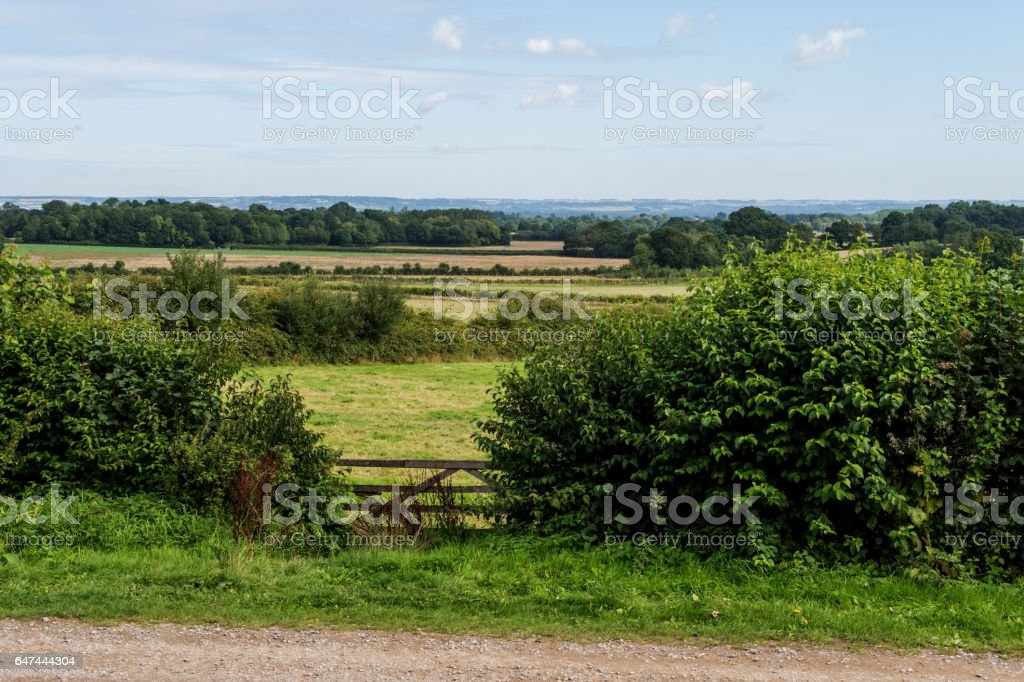 Fences, fields and trees around Sissinghurst stock photo