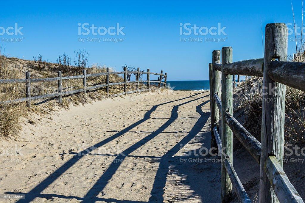 Fencing Along Foothpath to Beach at Sandbridge Beach in Virginia stock photo