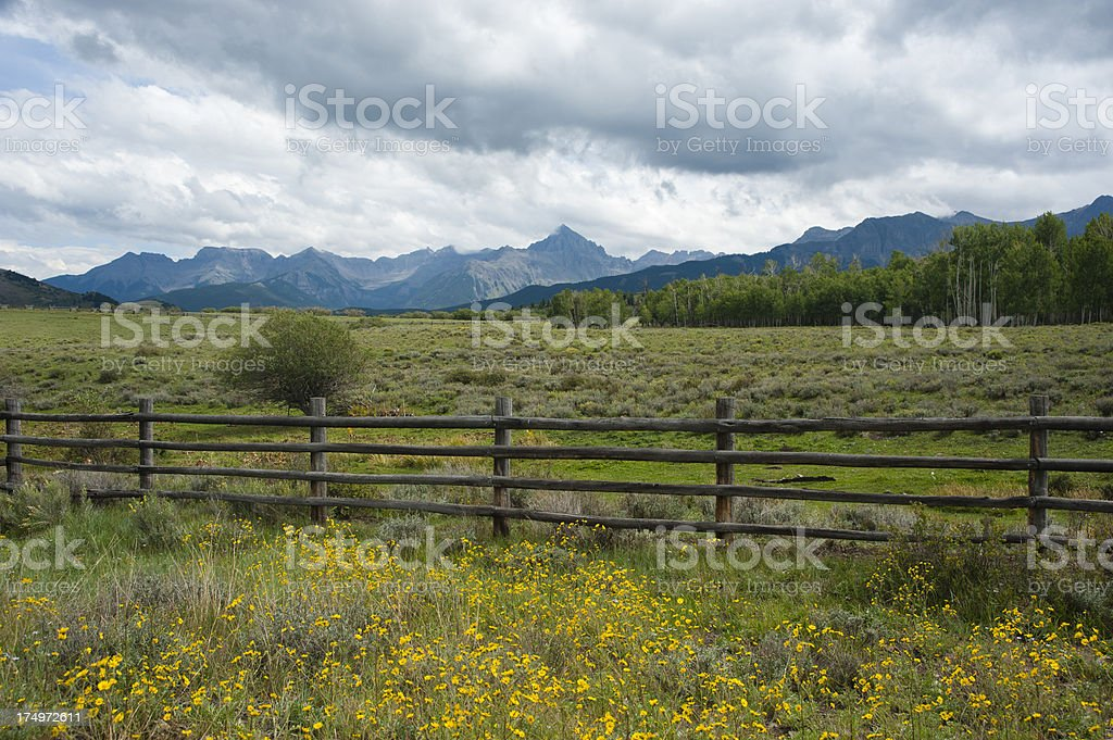 Fencing In Mount Sneffels and Dallas Divide stock photo