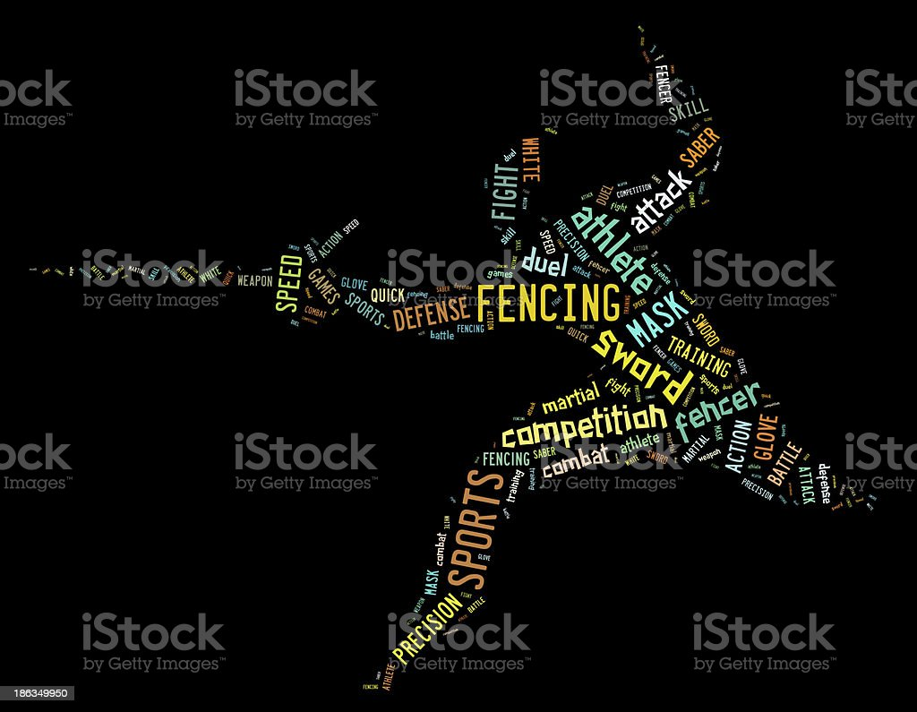 fencing pictogram with colorful related wordings on black backgr royalty-free stock photo