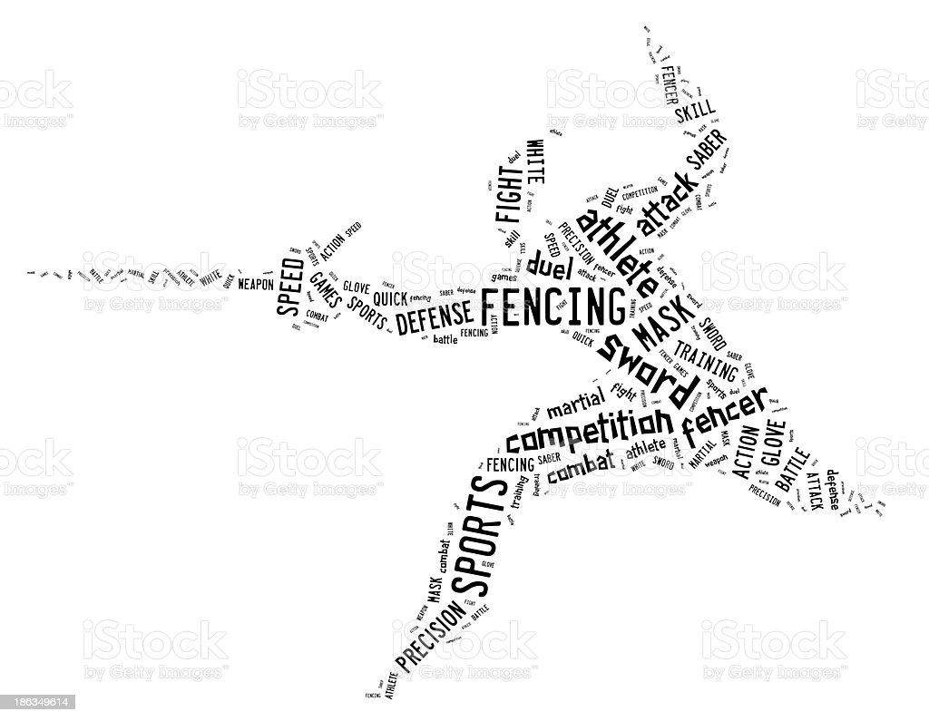 fencing pictogram with related wordings on white background royalty-free stock photo