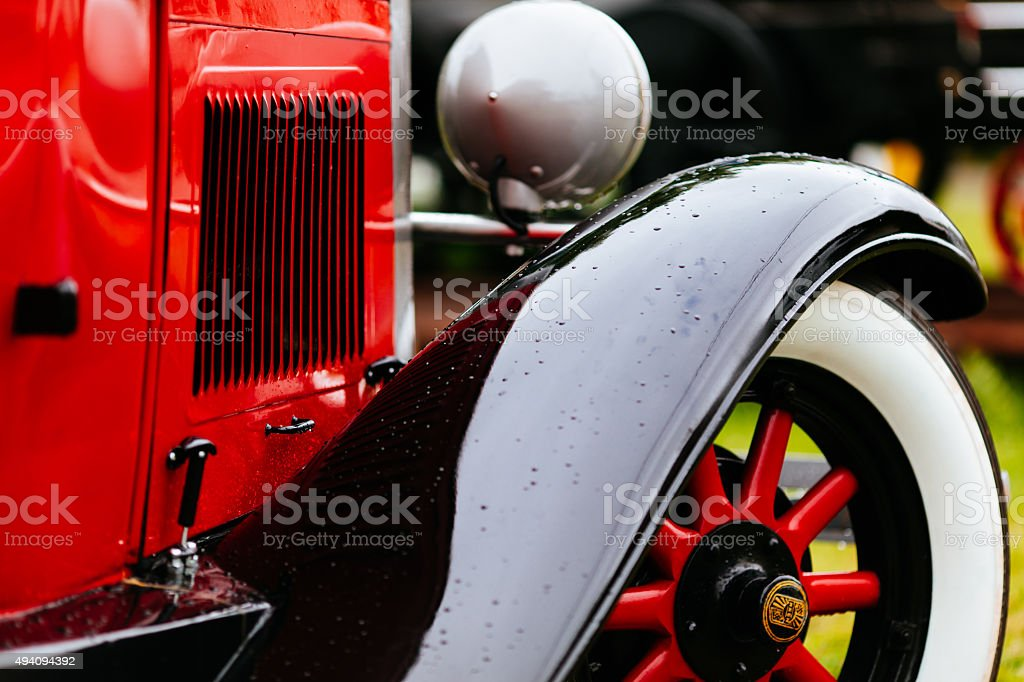 Fender Of Vintage Red Car stock photo