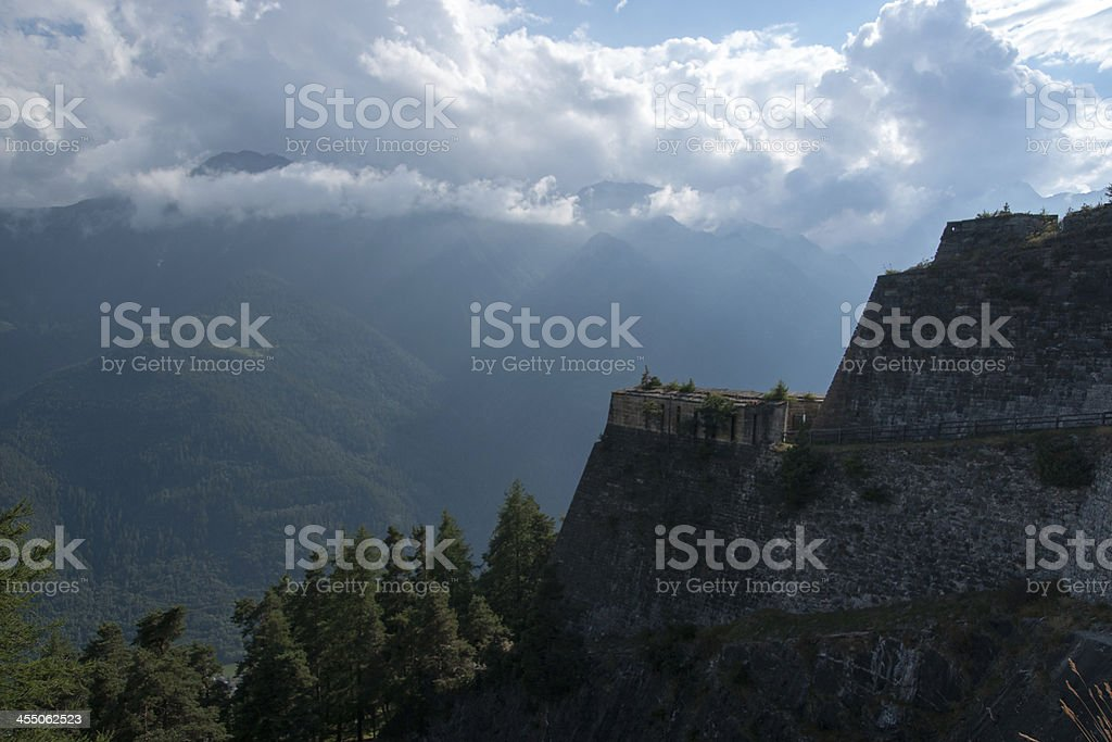 Fenestrelle fort in Italy stock photo