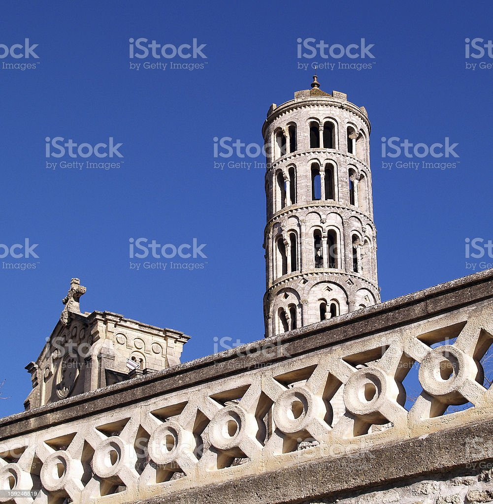 Fenestrelle Tower, Saint-Theodorit Cathedral in Uzes stock photo
