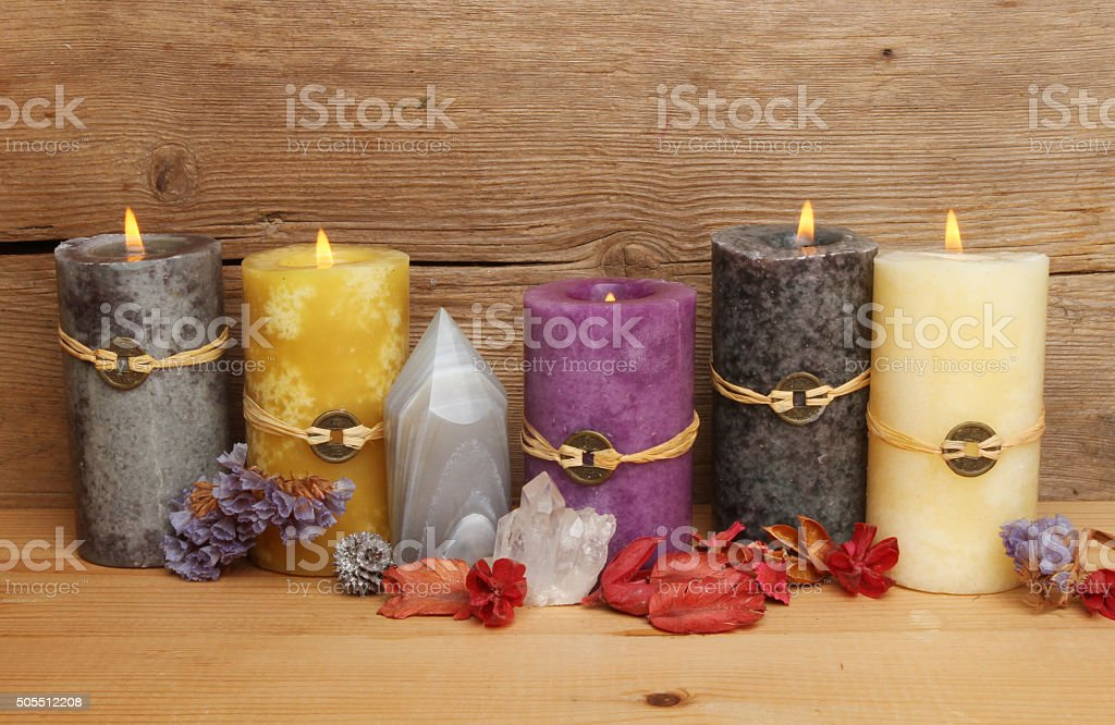 Feng Shui candles stock photo