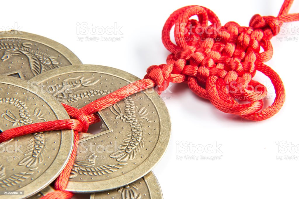 feng shui lucky coins stock photo