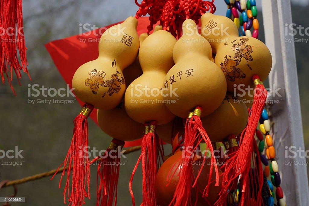 Feng Shui. Pumpkin Wu Lou - health and wealth. stock photo