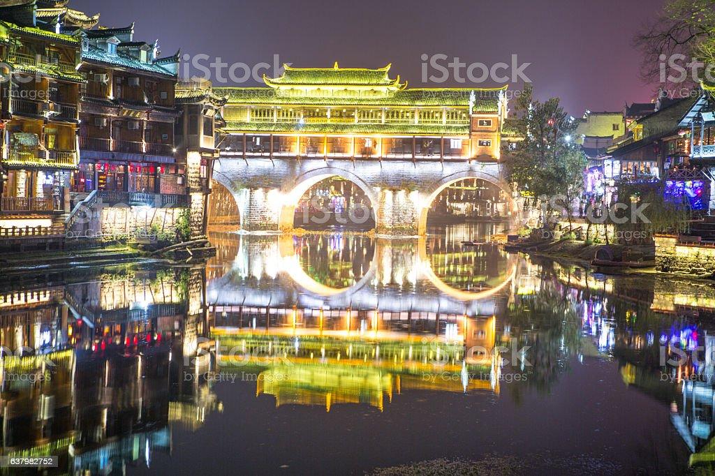 Fenghuang County at night, Hunan, China stock photo