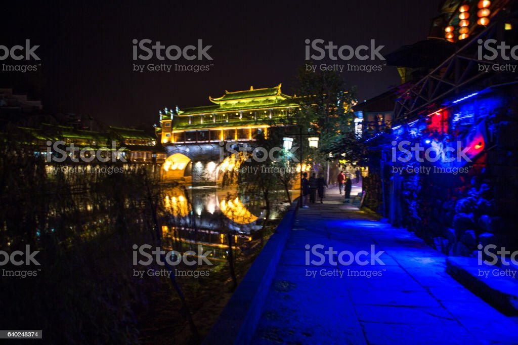 Fenghuang County at night with street lights stock photo