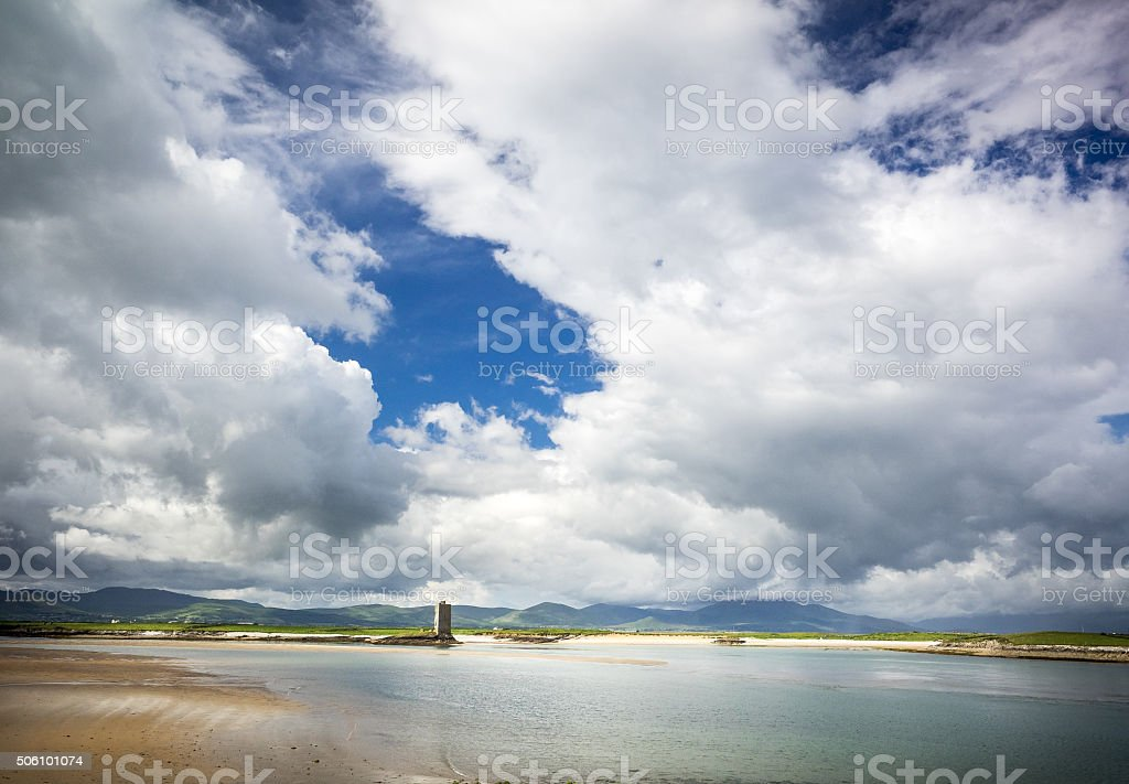 Fenit Castle and the Dingle Peninsular stock photo