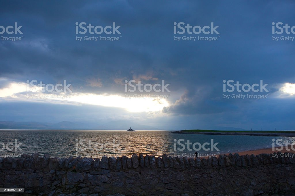 Fenit Lighthouse in county Kerry, Ireland stock photo