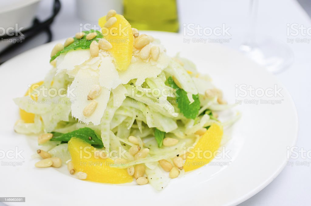 Fennel Salad with Mandarine Oranges and Pine Nuts stock photo