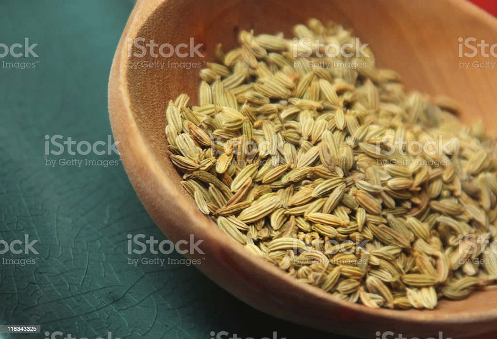Fennel seeds & turquoise royalty-free stock photo