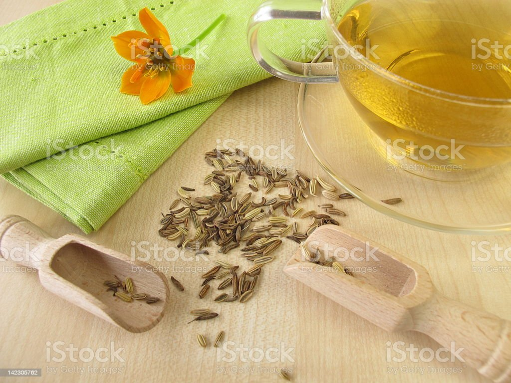 Fennel tea stock photo