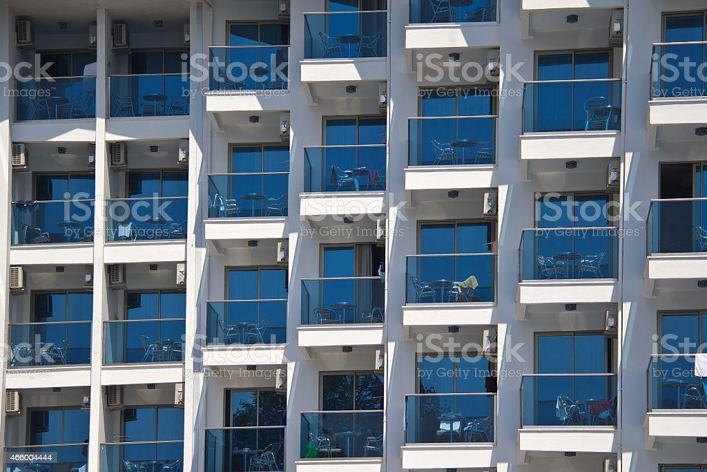 Fenstern und Balkonen. stock photo