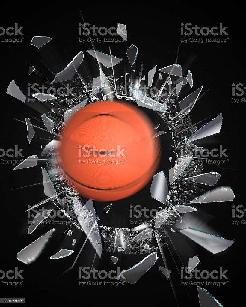 Fensterscheibe mit Ball stock photo