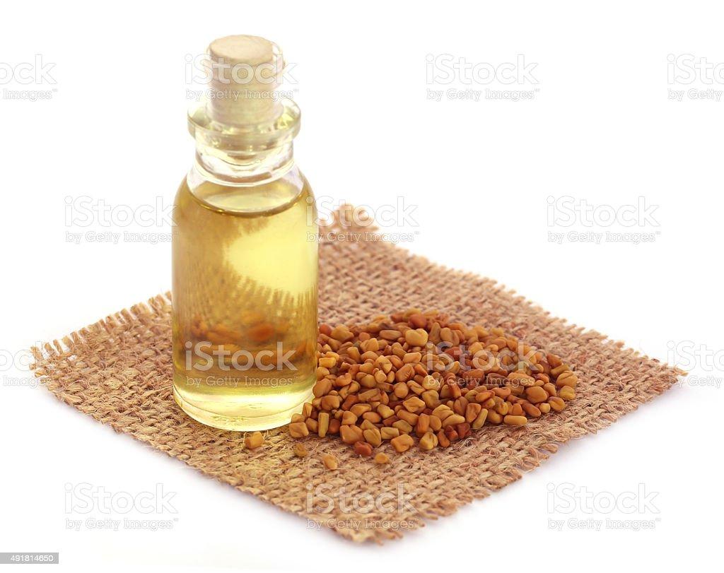 Fenugreek with oil in bottle stock photo