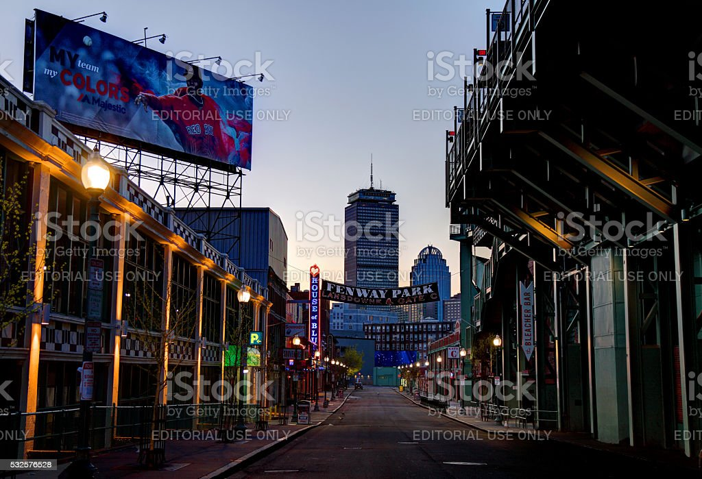 Fenway Park and the House of Blues along Landsdowne Street stock photo