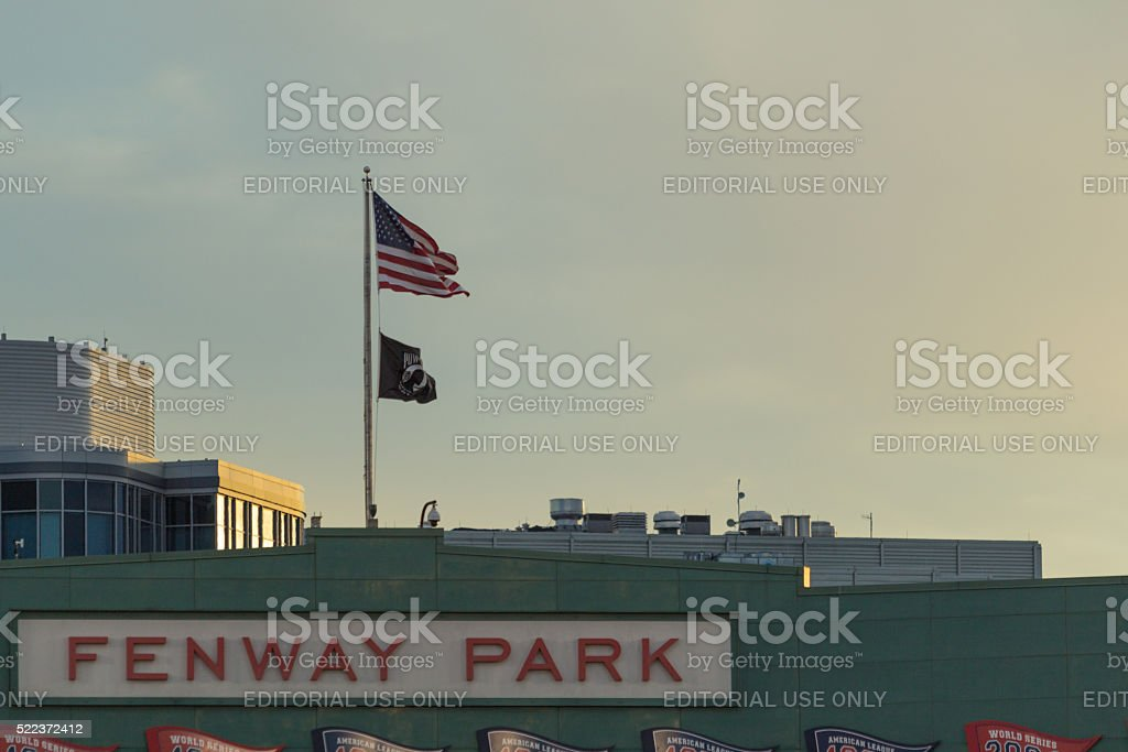 Fenway park at sunset stock photo