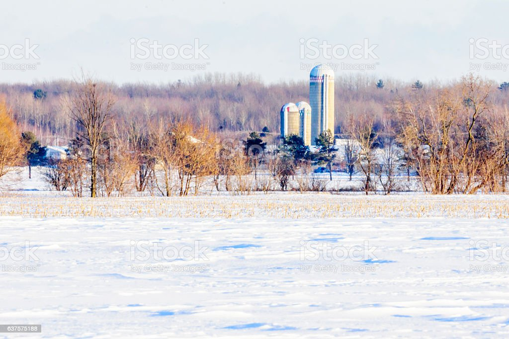 Ferme en hiver stock photo