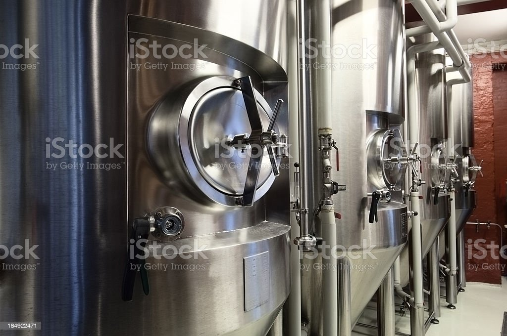 Fermentation Tanks In a Micro Brewery stock photo