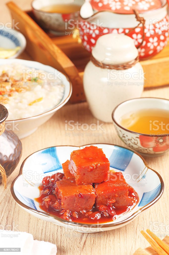 Fermented bean curd stock photo