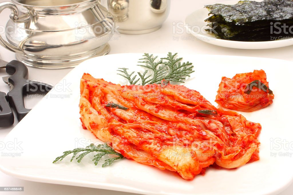 Fermented Chinese cabbage Kimchi, Korean pickles stock photo