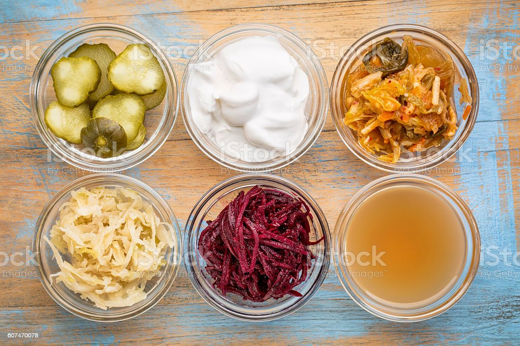 fermented food collection stock photo