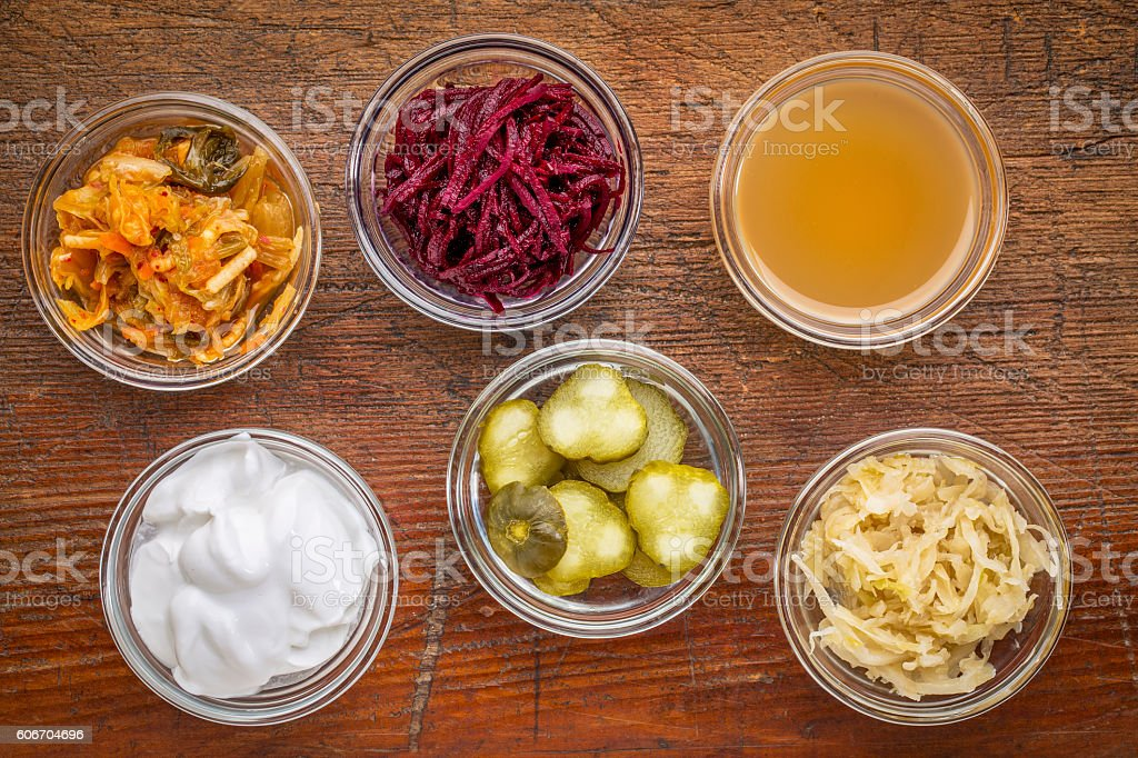 fermented food sampler stock photo