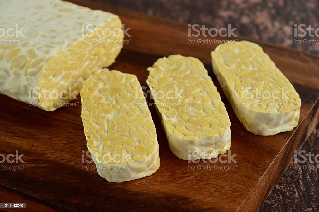 Fermented soybean cake or Tempeh stock photo