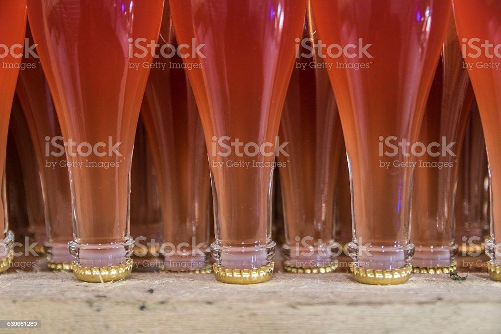 Fermenting rosé sparkling wine stock photo