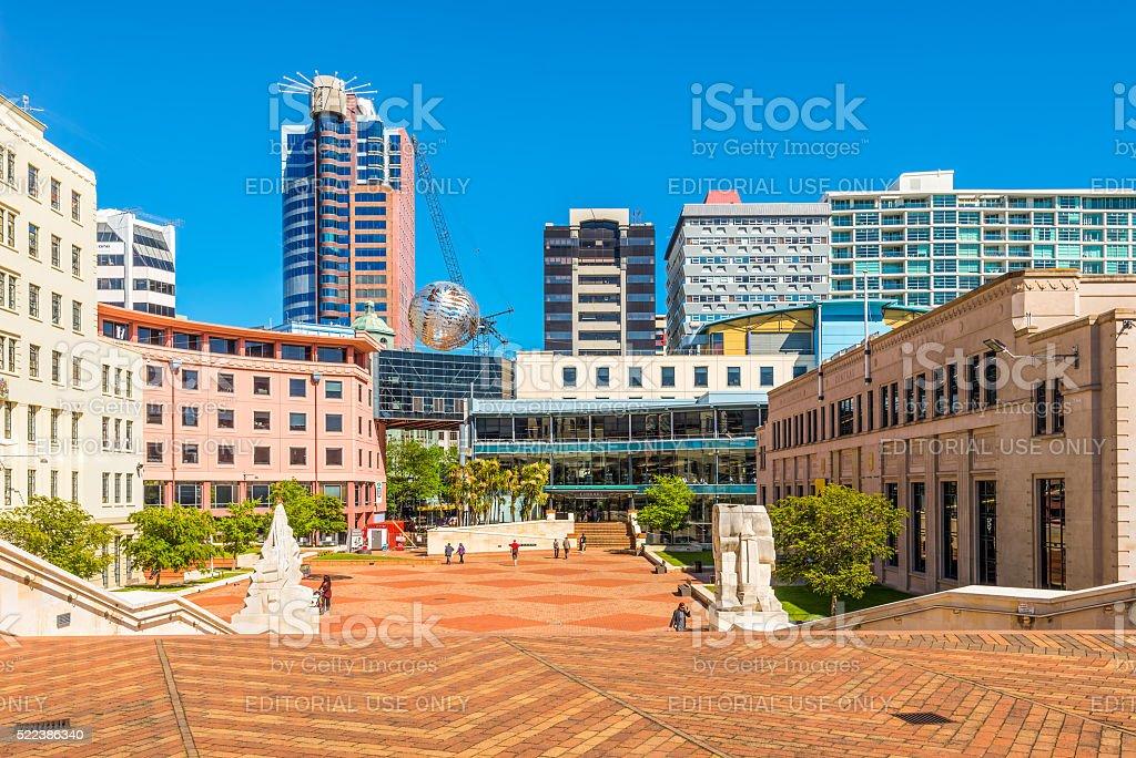 Fern globe and Civic Centre, Wellington, New Zealand stock photo