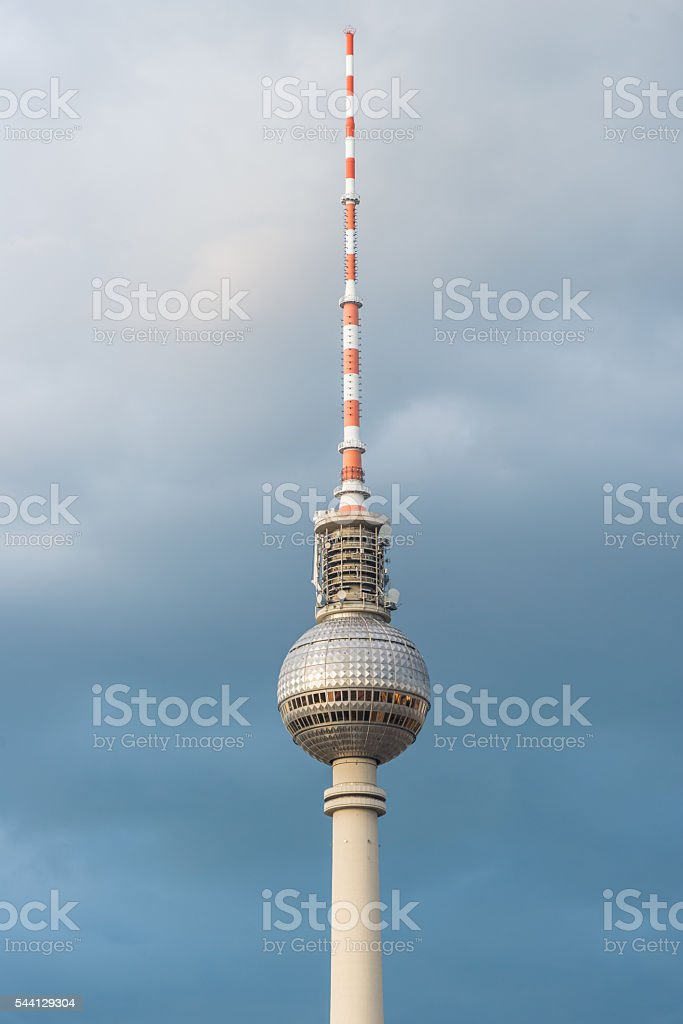 Fernsehturm - Berlin tv tower detail thunderstorm clouds stock photo