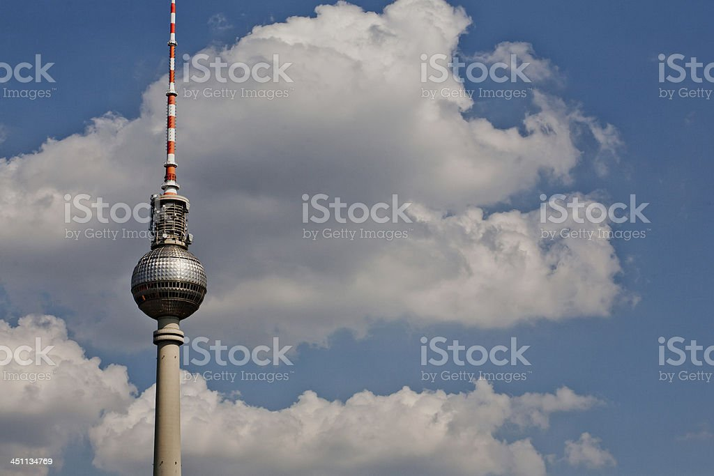 Fernsehturm with clouds royalty-free stock photo
