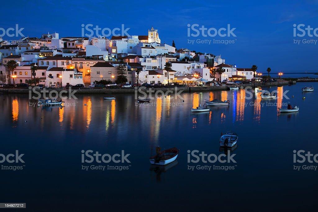 Ferragudo - a typical city of Algarve. stock photo
