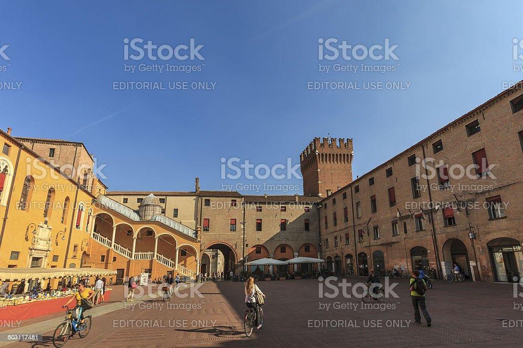 Ferrara, Piazza del Municipio, Italy royalty-free stock photo