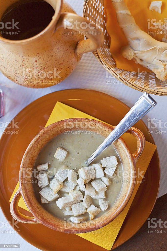 Ferrara soup with warm croutons stock photo