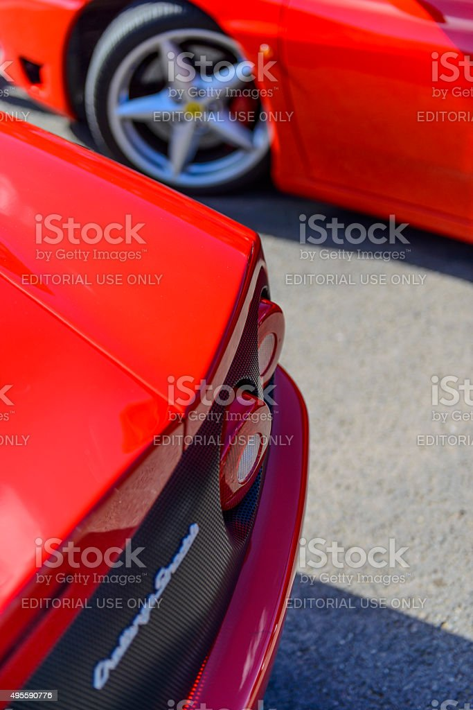 Ferrari 360 Challenge Stradale sports car detail stock photo