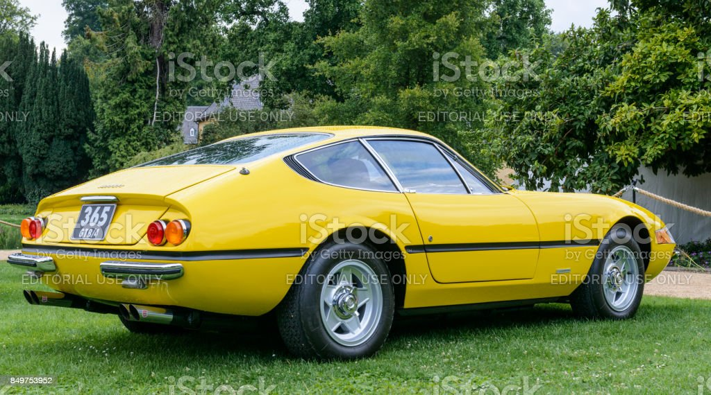 Ferrari 365 GTB/4 Daytona Italian 1970s sports car in yellow stock photo